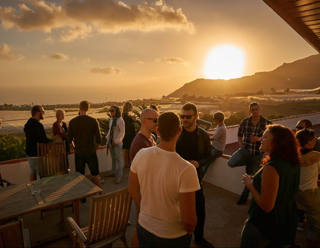 Sunset Party Tenerife adventure Nomads camp startups meeting